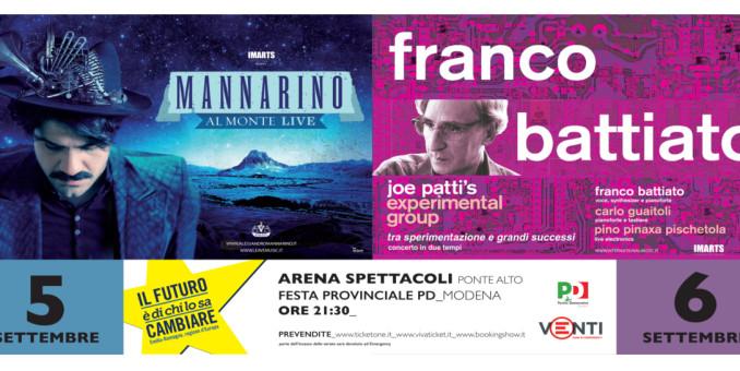 Ponte Alto, alla Festa Pd i concerti di Franco Battiato e Mannarino