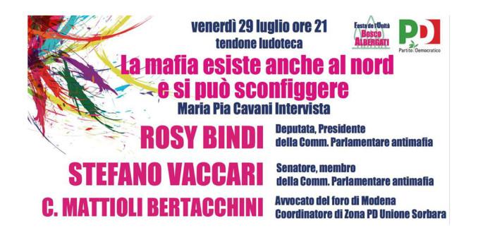 Bosco Albergati, venerdì si parla di lotta alla mafia con Rosy Bindi