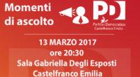 Pd Castelfanco, lunedì incontro con Lucia Bursi e Davide Baruffi