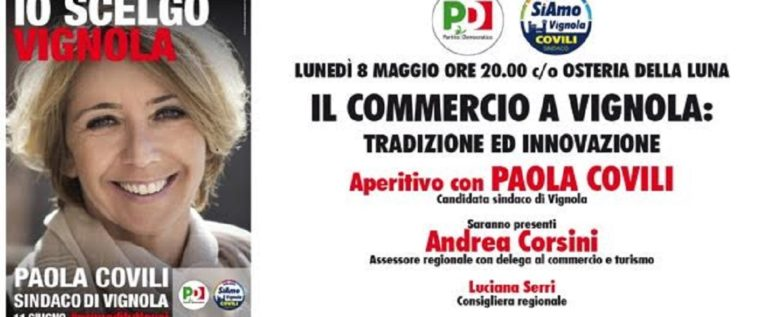 Vignola, lunedì la candidata Paola Covili incontra i commercianti