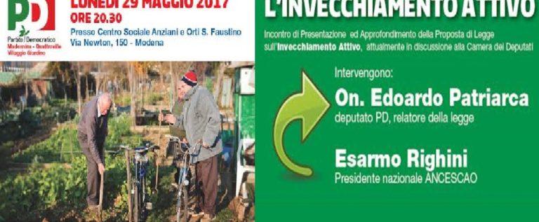 Modena, lunedì si parla di invecchiamento attivo con l'on. Patriarca