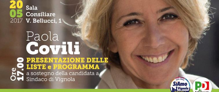 Vignola, sabato presentazione liste a sostegno di Paola Covili