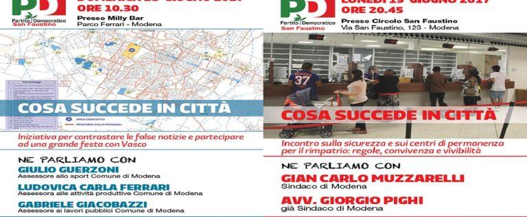 Pd San Faustino: domenica si parla di Vasco, lunedì di sicurezza
