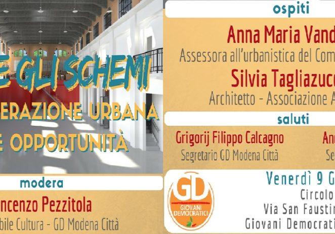 Gd Modena, venerdì sera un incontro sulla rigenerazione urbana
