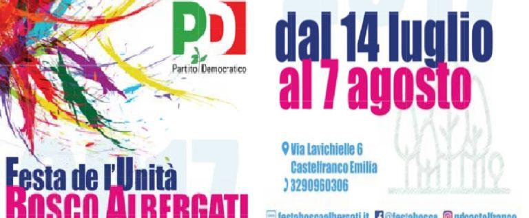 Bosco Albergati, venerdì 14 luglio prende il via la Festa de l'Unità