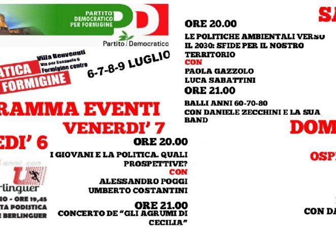 Formigine, dal 6 al 9 luglio torna la Festa democratica, chiude Richetti