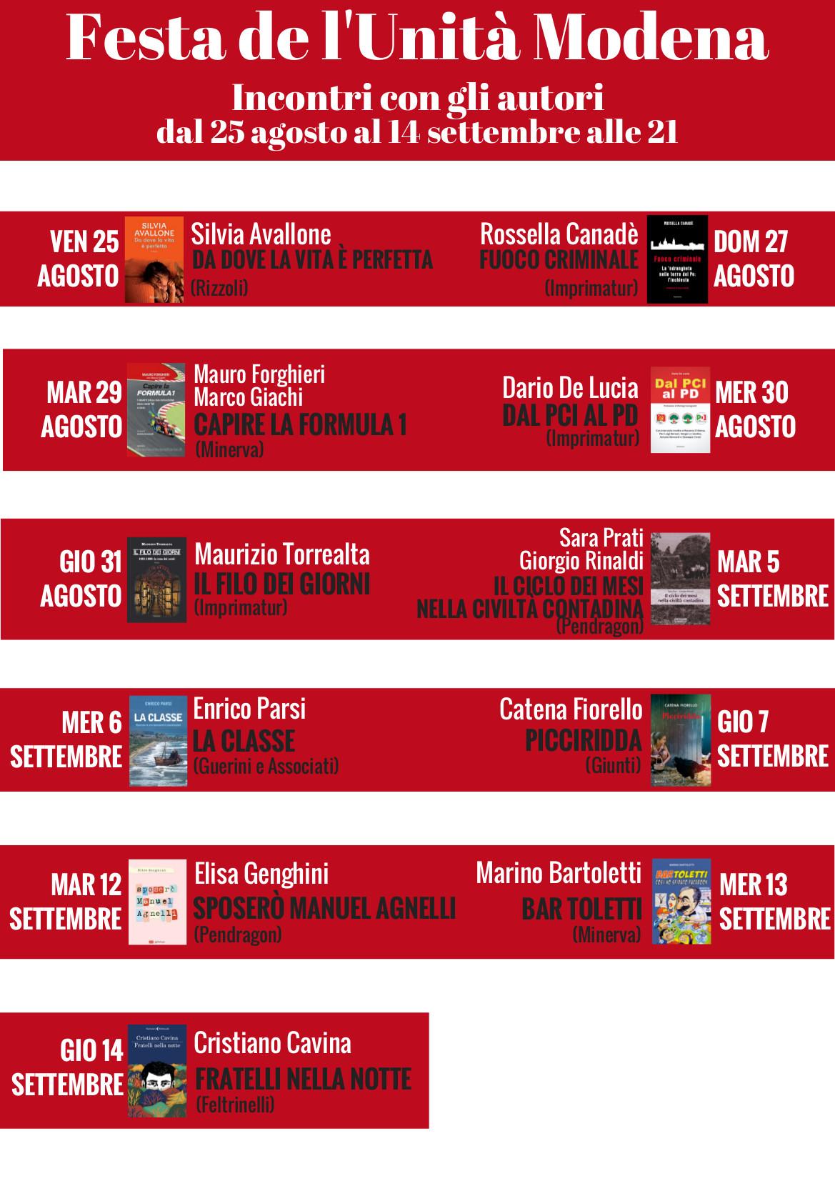 Il programma della presentazione dei libri alla Festa de l'Unità a Ponte Alto
