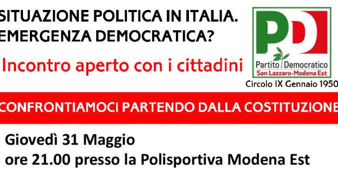 Pd San Lazzaro/Mo Est, giovedì confronto sulla situazione politica