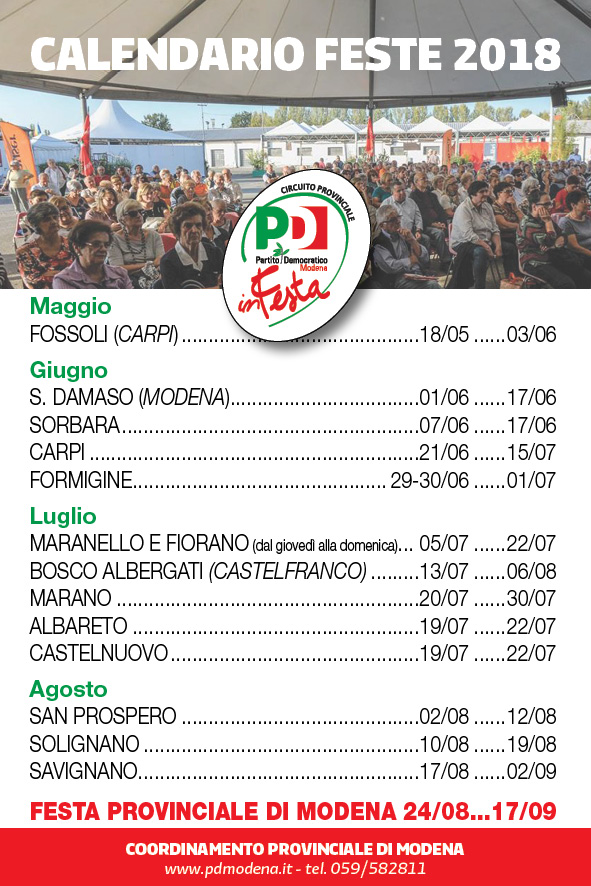 Calendario Feste 2018