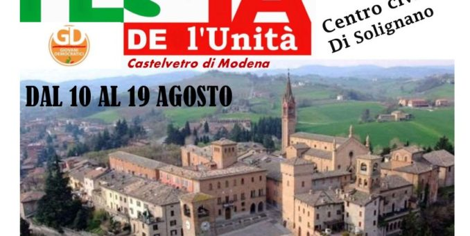 Castelvetro, venerdì torna la Festa de l'Unità nel centro civico di Solignano