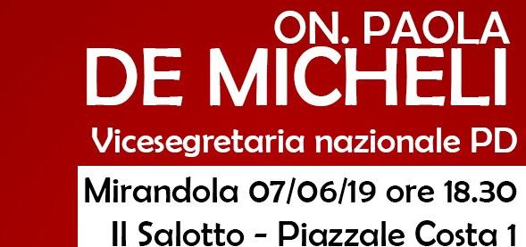 Mirandola, venerdì Paola De Micheli a sostegno di Roberto Ganzerli