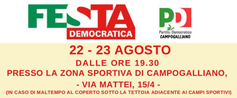 Campogalliano, sabato e domenica torna la Festa Democratica